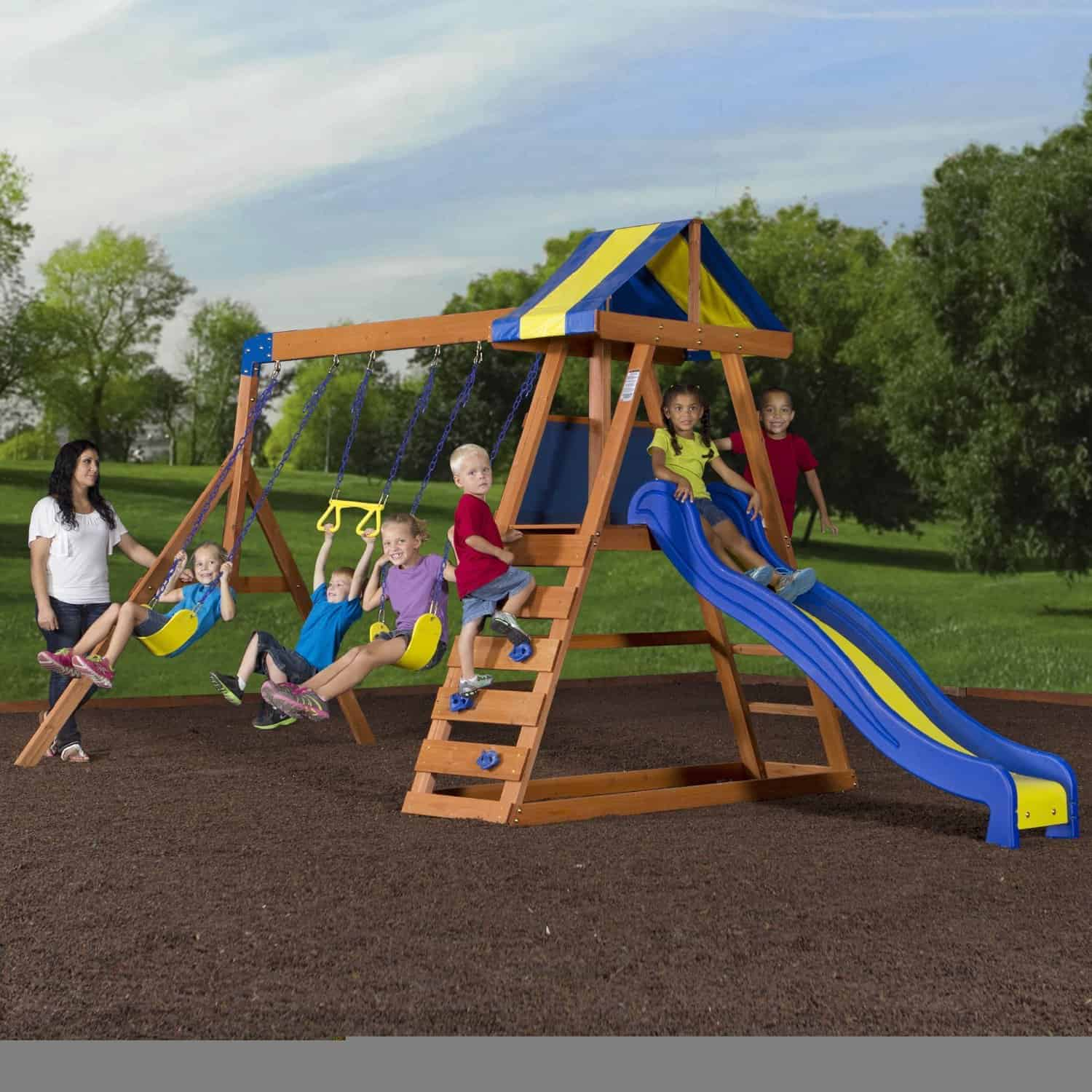 backyard playset outdoor set spaces club tower adventure s pin lifetime deluxe swing sam