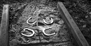 horseshoes on sand pit