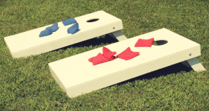 corn hole game set outdoors