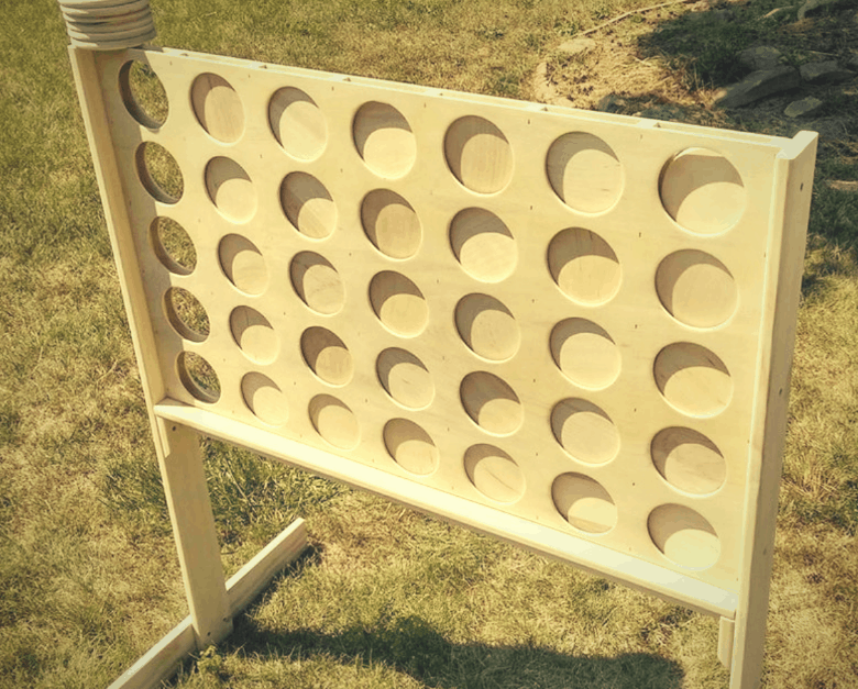 unfinished life size connect four game outdoors