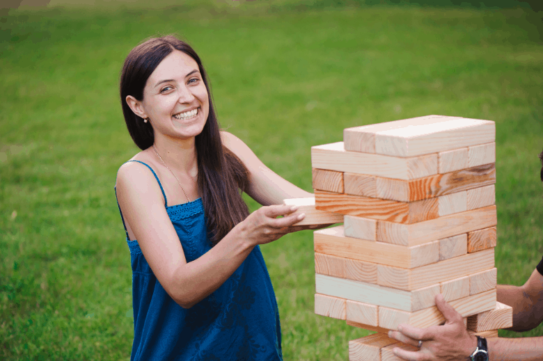 giant tower game with wooden blocks